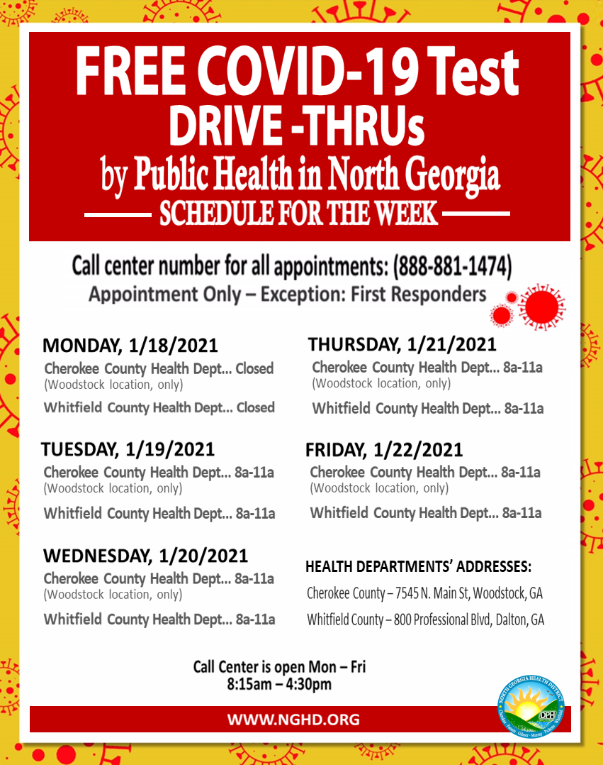 FREE COVID 19 Testing in North GA Schedule Week of Jan 11th